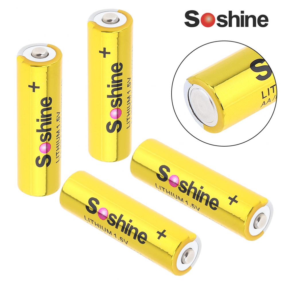 Soshine 4pcs Super 1.5V 3000mAh AA FR 6 Mignon LITHIUM Batteries with Super Continuous Discharge for Camera/Headlamp / Toys