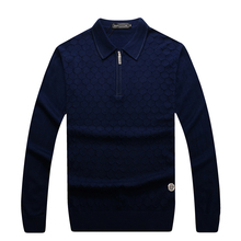 Sweater men's 2016 popular turn-down collar solid color comfortable embroidery breathable high quality clothing free shipping