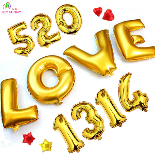 HEY FUNNY 1 pc 30 inch Gold Silver Number Foil Balloons LOVE Ballons for Birthday Party Wedding Decoration Event Party Supplies
