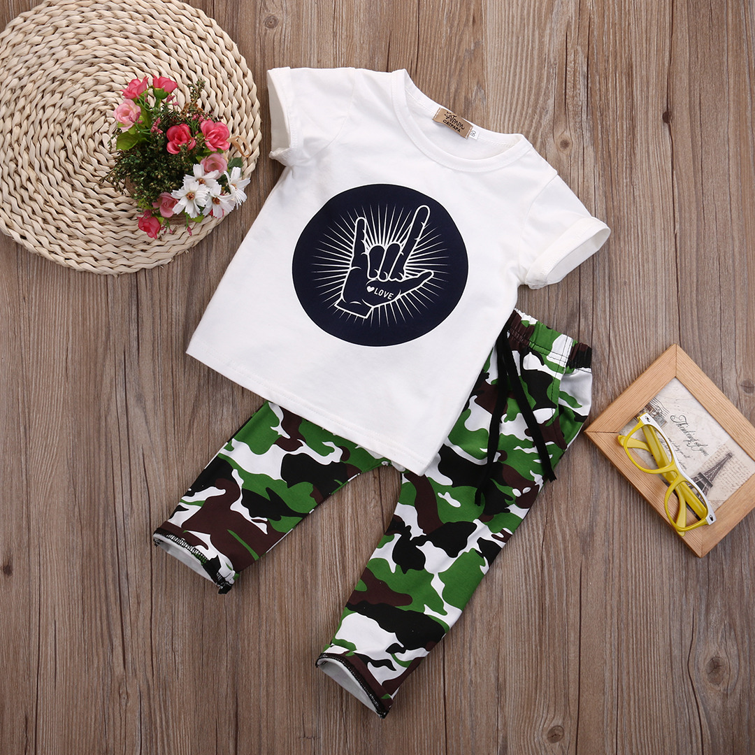 54ac589c0aa8 Stylish Hip Pop Kids Boys Print Tops T shirt + Camouflage Pants ...