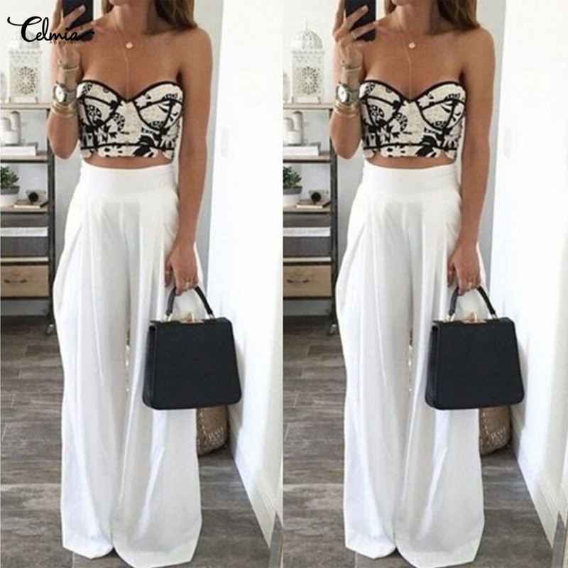 Celmia Для женщин Palazzo широкие штанины Повседневное свободные Штаны с высокой посадкой, длинные брюки 2019 летние пляжные штаны плюс Размеры