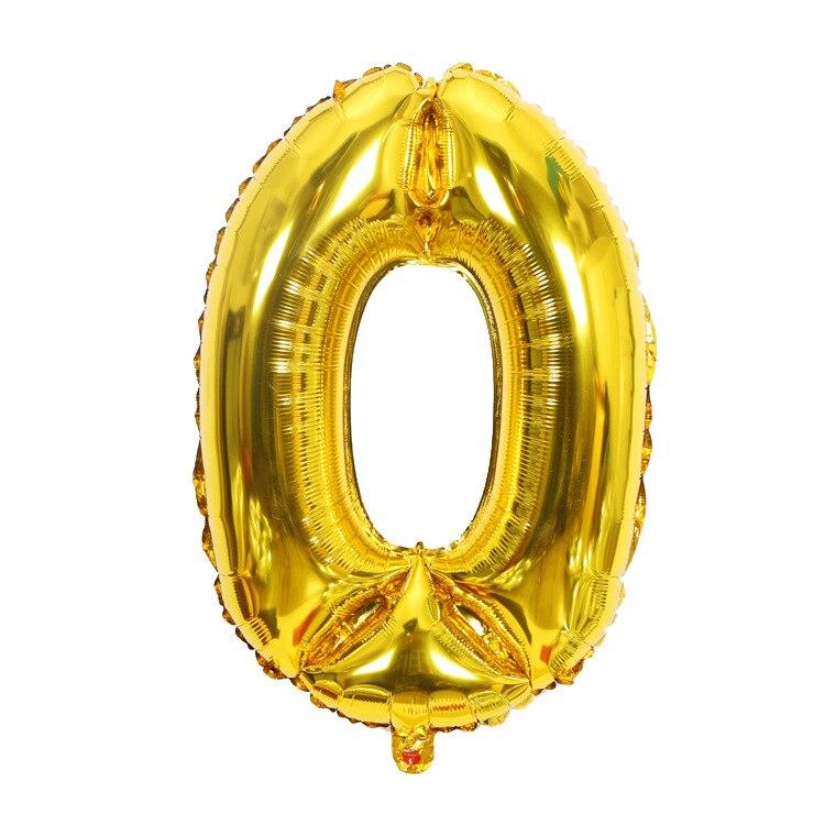 Золотой Серебряный 32 дюйма 0-9 большой гелиевый цифровой воздушный шар фольги Детский праздник день рождения вечеринка для детей мультфильм шляпа игрушки - Цвет: gold 0