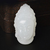 Free Shipping 1 pcs 100% natural white stone Hand Carved GuanYin head Pendant men's pendant gift Fashion jewelry
