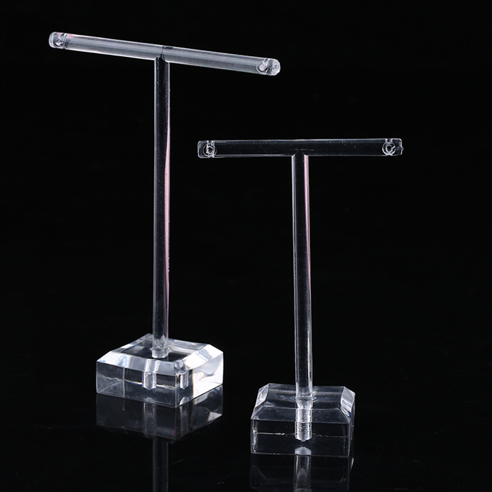 2pcs/Set Clear Plastic Earrings Showcase Display T Bar Stand Holder Organizer Jewelry Hanger Display Rack Kit Container Simple