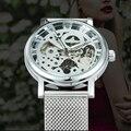 Победитель официальный модные женские часы ультра тонкий сетчатый Ремешок лучший бренд класса люкс Скелет Механические Элегантные женски...