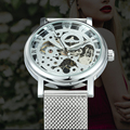 Часы WINNER  модные женские  ультратонкие  с сетчатым ремешком  топовые  Роскошные  механические  элегантные  для девушек