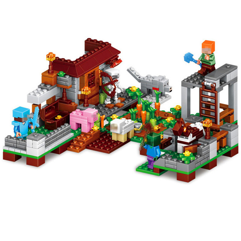 2018 Minecrafted Model Village Figures Building Blocks SSet Compatible Legoed City Enlighten Bricks Toy For Kids sembo toy military watchtower building blocks bricks compatible legoed city action toy figures enlighten bricks toy for children