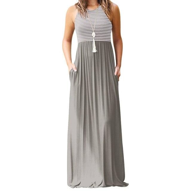 c84eec76ba Boho Maxi Dress Summer Women Striped Tank Dress Sexy Sleeveless Long Dresses  2018 Femme Pockets Casual