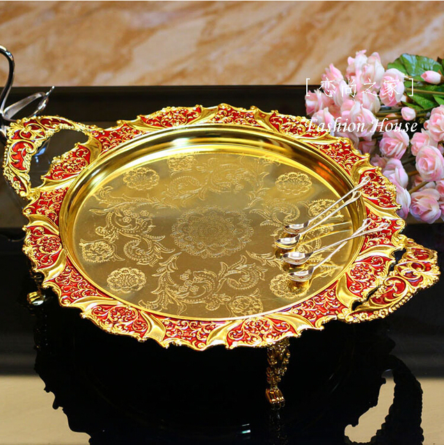 42cm Round Gold Red Embossed Metal Tray Storage With Handle Decorative Serving Trays Food