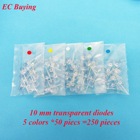 10mm Red Blue White Yellow Emerald-Green LED Round Transparent Ultra Bright Lamp Bead Plug-in DIY Kit Assorted Kit 250 pcs