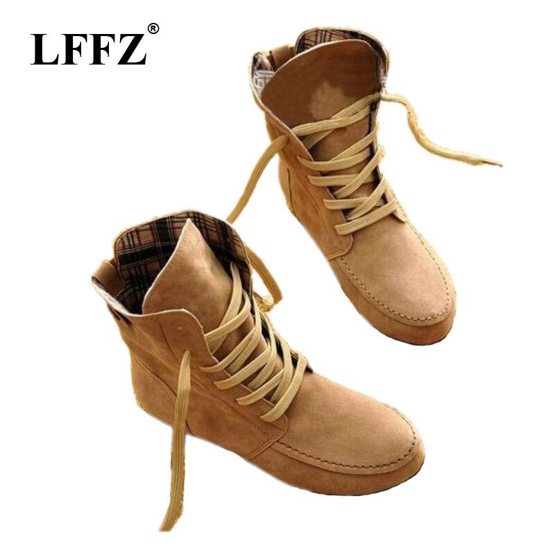 Herbst Winter Frauen Stiefel Matte Flock Stiefel Weibliche Damen Niedrigen  Ferse Schuhe Frau Mitte Wade Stiefel plus größe ST312 515f65e4f1