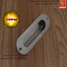 10pcs Oval Flush Recessed Pull Door Handle Stainless steel 304 with hole furniture handle,cabinet Kitchen knob,flush handle