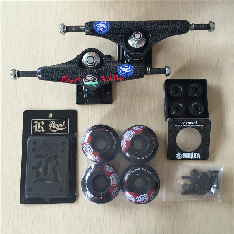 Free Shipping Skateboard Parts Royal Aluminum 5.25 Skate Trucks And ELEMENT PU Skate Wheels ELEMENT ABEC-7 Bearings peny skateboard wheels longboard 22 retro mini skate trucks fish long board cruiser complete tablas de skate pp women men skull