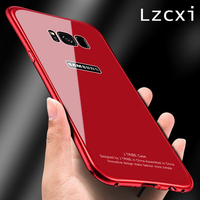 Lzcxi Case For Samsung S8 Luxury 9H Tempered Glass Metal Frame Aluminum Shockproof Armor Cover For
