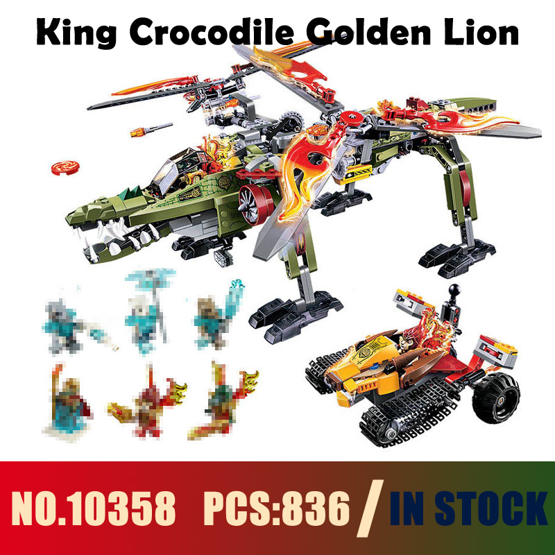 Models building toy 10358 836PCS The King Of Crocodile Golden Lion Building Blocks Compatible with lego 70277 toys & hobbies
