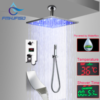 LCD Digital Display Bathroom Shower Faucet Ceiling Mounted 16 LED Shower Head with Embedded Box Cartridge Valve
