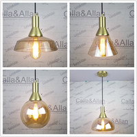 E27 Brass Material Socket Amber Glass Shade Fabric Twisted Wire Cord Brass Material Ceiling Plate 100