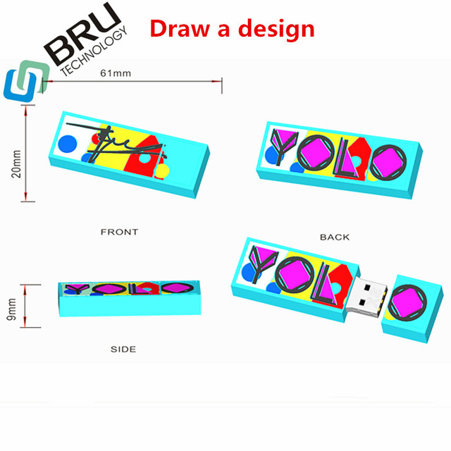 BRU 32GB64GB128GB USB Flash Drive Gift Customization PVC Silicone Pendrive Rubber OEM Memory Stick Open Mould Cartoon LOGO 2