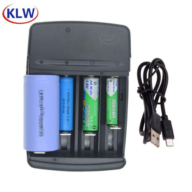 4 slots smart usb carregador de bateria para recarregável 1.6v NI ZN aa aaa 3.2v lifepo4 32650 18650 14500 carregador de bateria