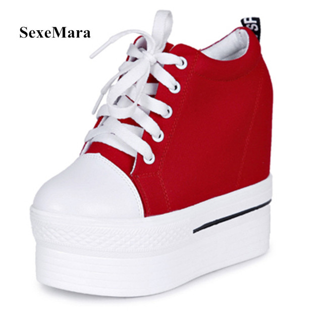 1ed84decca74 Size 35~39 Canvas Shoes Women Casual Elevator Platform Shoes Female High  Top Hidden Wedge Heels Ankle Boots Zapatillas Mujer