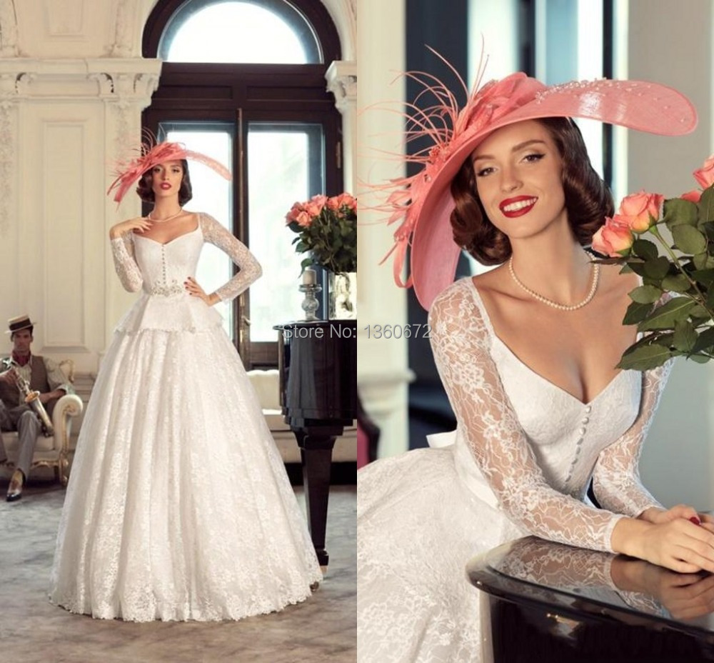Vintage Wedding Gown Designers: Full Sleeves Vintage Exquisite Wedding Gowns Low Cut Lace