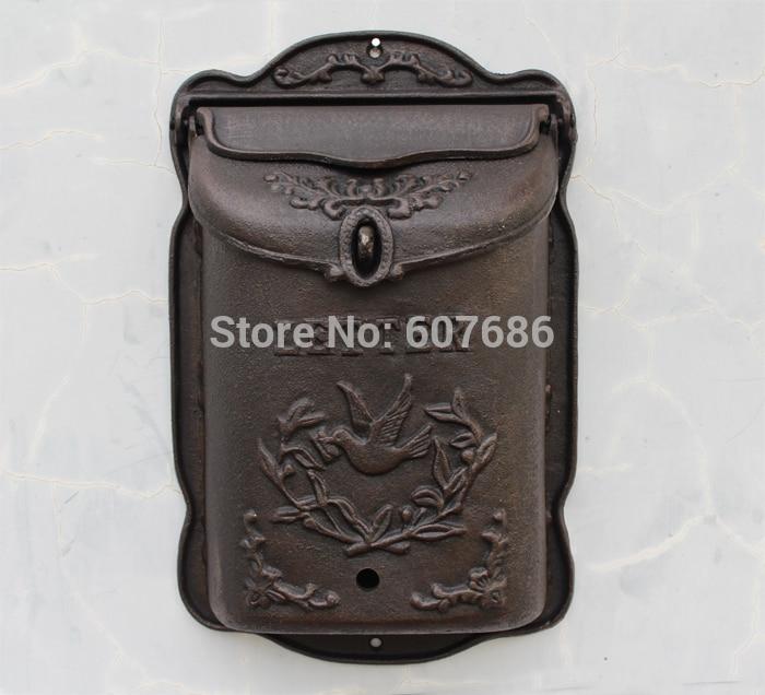 Heavy Wall Mounted Cast Iron Mailbox Bird Metal Mail Box Wrought Iron Letter Post Box Rustic Postbox Gardon Decor Free Shipping