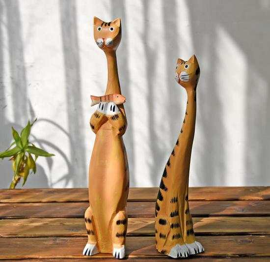 Online Shop New Europe Style Wooden Cat Painted Crafts Handmade Home