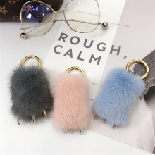 Fluffy Pompoms Of Real Leather Mink Key Chain Keychain Wolf Claw Key Chains Car Keyring Pompom Charm Women Mobile Phone Pendant