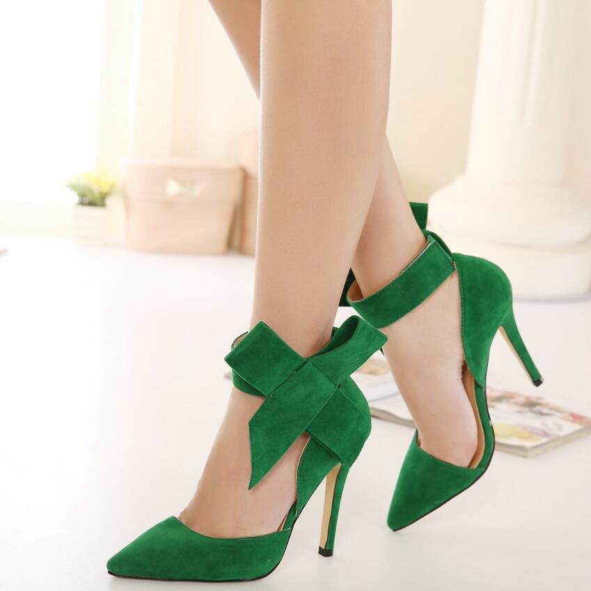 Plus Size Shoes Women Big Bow Tie Pumps 2017 Butterfly Pointed Stiletto Shoes Woman High Heels Wedding Shoes Bowknot advisable 9