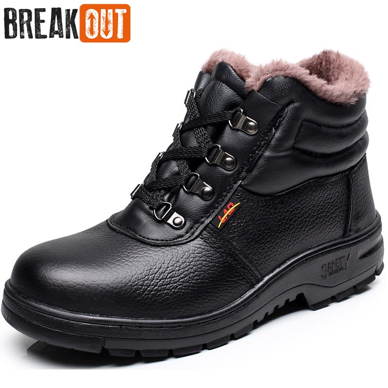 Break Out New Men Winter Boots Snow Boots for Men Ankle Boots Warm with Plush&Fur Work Safety Men Shoes 45 46 цена 2017