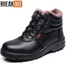 Thoát Ra Khỏi New Men Winter Khởi Động Khởi Động Tuyết cho Nam Giới Ankle Boots Ấm với Sang Trọng và Lông Thú Làm Việc An Toàn Người Đàn Ông Giày 45 46
