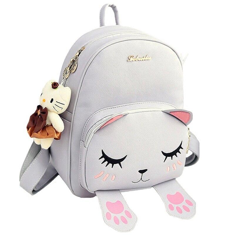 School Backpacks Style Women Backpack Black Cat Fun Quality PU Leather Fashion Women Sweet Shoulder Bag Travel Books Rucksack