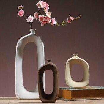 1PC Brushed Ceramic Vase Vintage Nordic Style Vase Living Room Porch Shelf Decoration Home Decoration Vase Furnishing Articles
