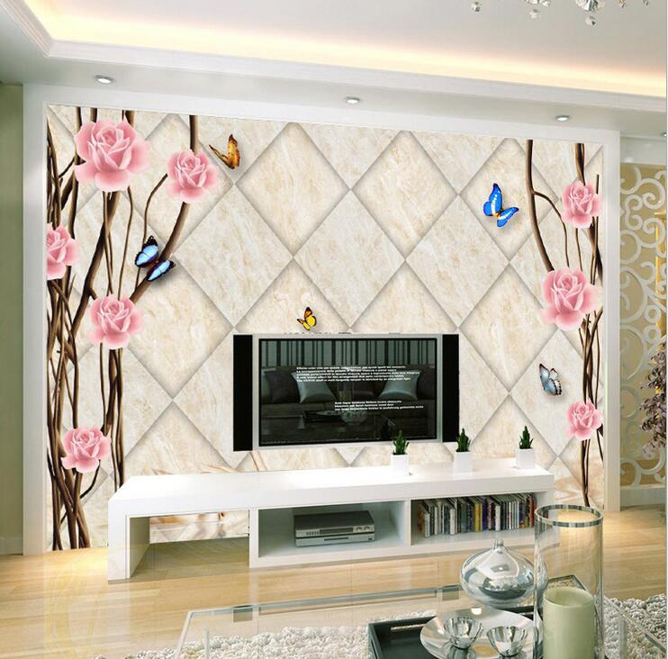 Custom Any Size 3D Wall Mural Wallpapers,Vintage Brick Background Living  Roomu0026Bedroom Flower U0026 Butterfly Part 83
