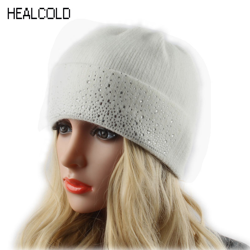 Women's Winter Hats Knitted Wool Beanies For Ladies Warm Beanie Hat With Diamond Skullies Cap