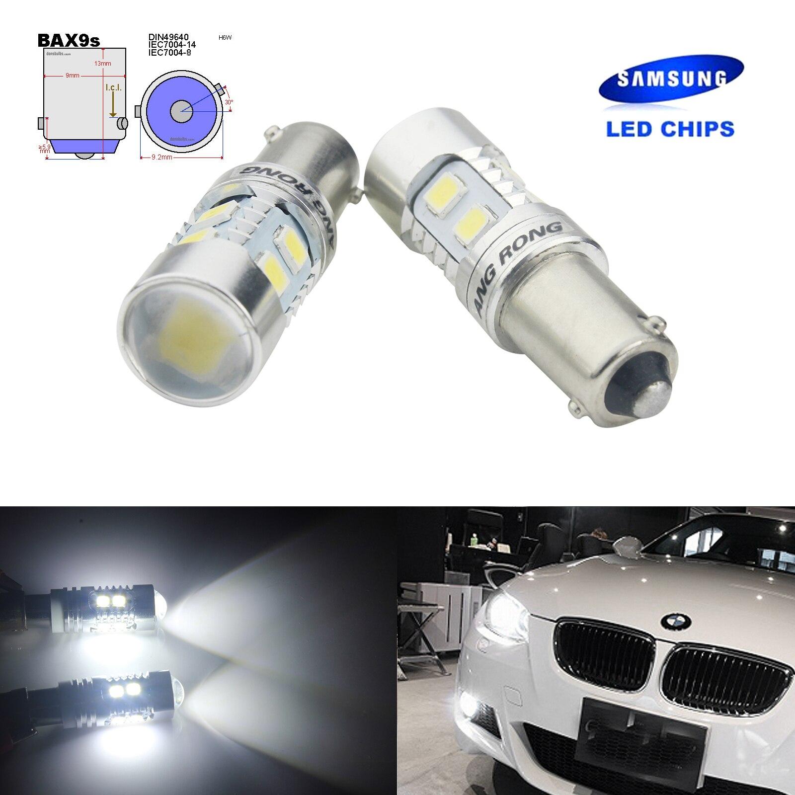 ANGRONG 2x Error Free H6W BAX9s LED Bulb SAMSUNG LED Car Light 10W Sidelight Parking Daytime Running Light White 12V