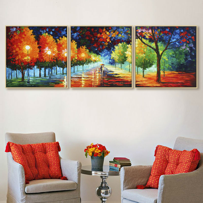 Artist Sales Hand painted oil painting on canvas 3 piece canvas art home decoration for living room Dusk Street