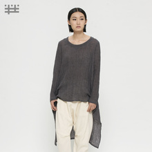 [ LYNETTE'S CHINOISERIE – Qing Chen ] 2015 Spring Autumn Original Design Women Asymmetrical High-low Loose Casual Linen Shirt