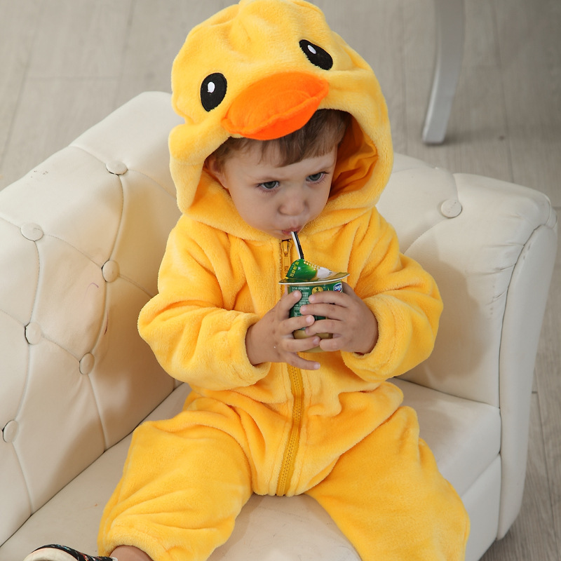 Cute Yellow duck hooded rompers clothes suit for baby wear flannel дождевик yellow duck