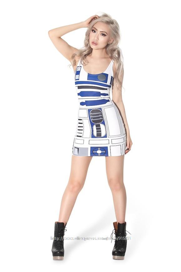 2019 New Womens R2D2 Star Wars Robot Hip Vest Mini Short Tank Dress ...