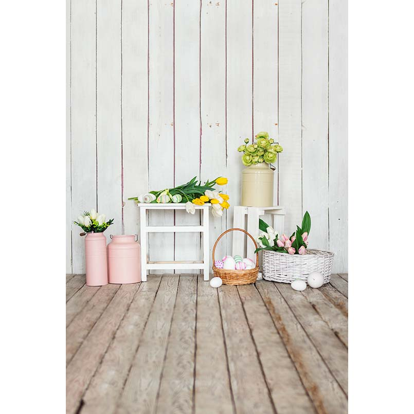 S-3227 Easter Eggs Easter Basket Wood Floor Baby Newborn Child Photo Background Photography Backdrops easter day basket branch bunny photo studio background easter photography backdrops