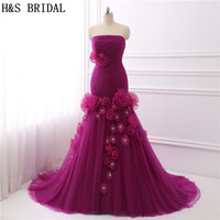 H&S BRIDAL Purple prom dresses 2017 Pleated Tulle mermaid prom dress Organza Flower Beaded Lace Up evening dress robe de soiree