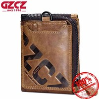 GZCZ Genuine Leather Men Wallet Casual Coin Purse Zipper Clamp For Money Photo Holder Short Paragraph Letter Male Clutch