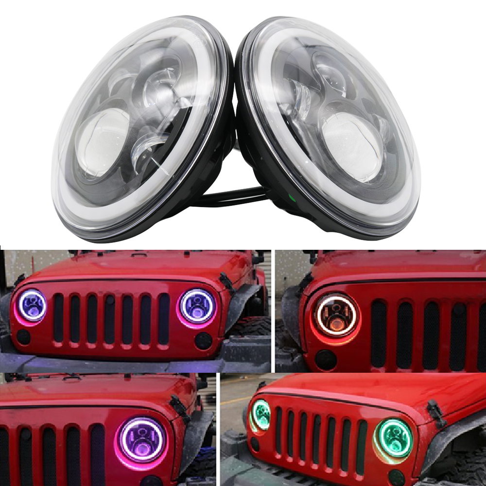 лучшая цена NEW 7 Inch Round Angel Eyes Project Daymaker LED Headlight RGB Chasing Halo For Jeep Wrangler Bluetooth Phone APP Headlight