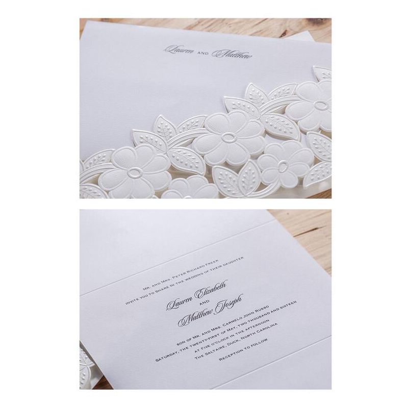 50pcs White Laser Cut Marriage Wedding Invitations Cards 3D Card ...