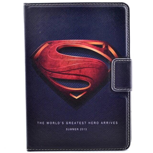 3D Мультфильм Супермен Бэтмен Капитан Америка Флип Стенд PU Кожаный Tablet Защитный Чехол Для Ipad Air1 Air2 + Стилус