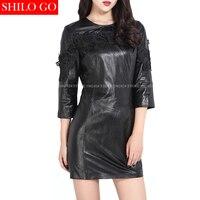 Plus Size Fashion Women High Quality Sheepskin Round Neck Retro Embroidery Lace Flowers Sexy Black Genuine