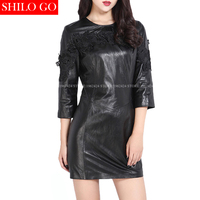 Plus size fashion women high quality Sheepskin round neck retro embroidery lace flowers sexy black genuine leather pencil dress