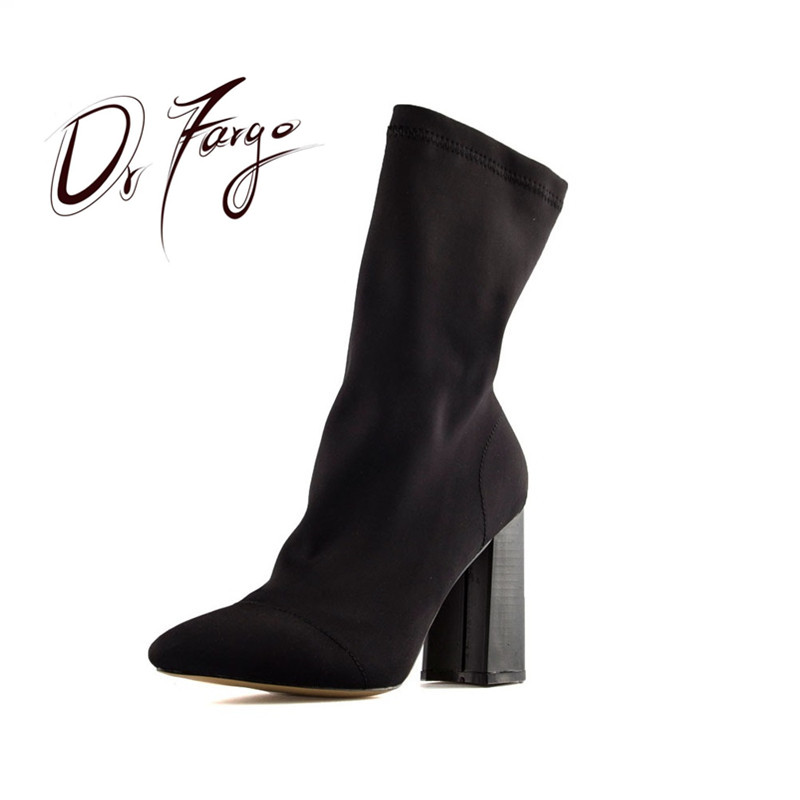 DRFARGO Brand Mid-Calf Women's Boots Pointed Toe Square Heel Shoes Women Elastic Fabric Stretch Block High Heel Boots Size 36-40 gaozze fashion women socks boots mid calf thick high heels boots women comfortable elastic knitted fabric female boots brand