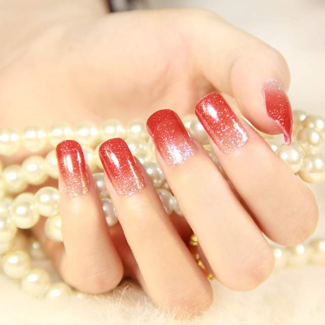 Online Shop Minx nail sticker transfer foil Gradient Red And Silver ...